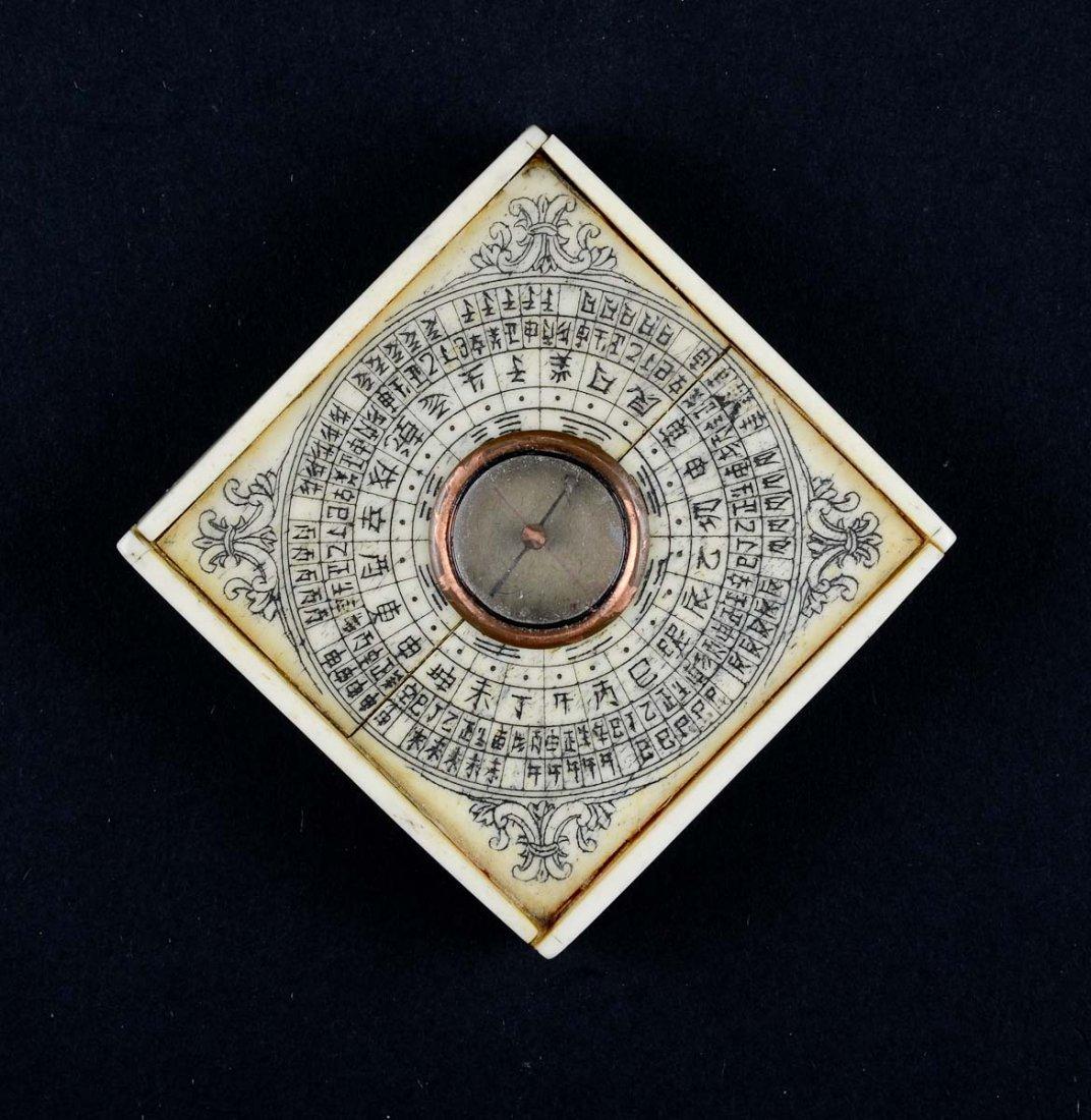 Chinese bone nautical compass - 3