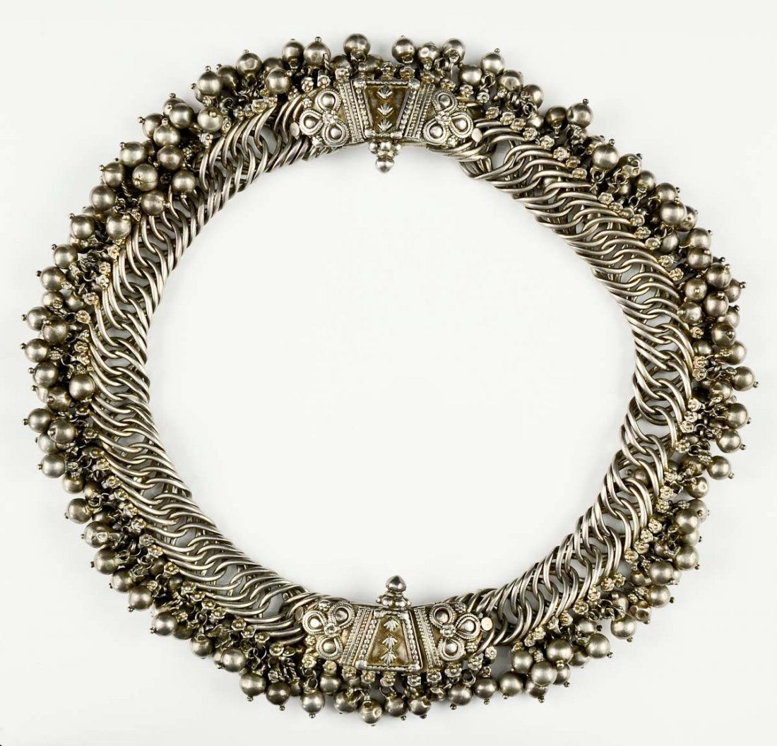 Tribal or Bedouin Silver bib necklace