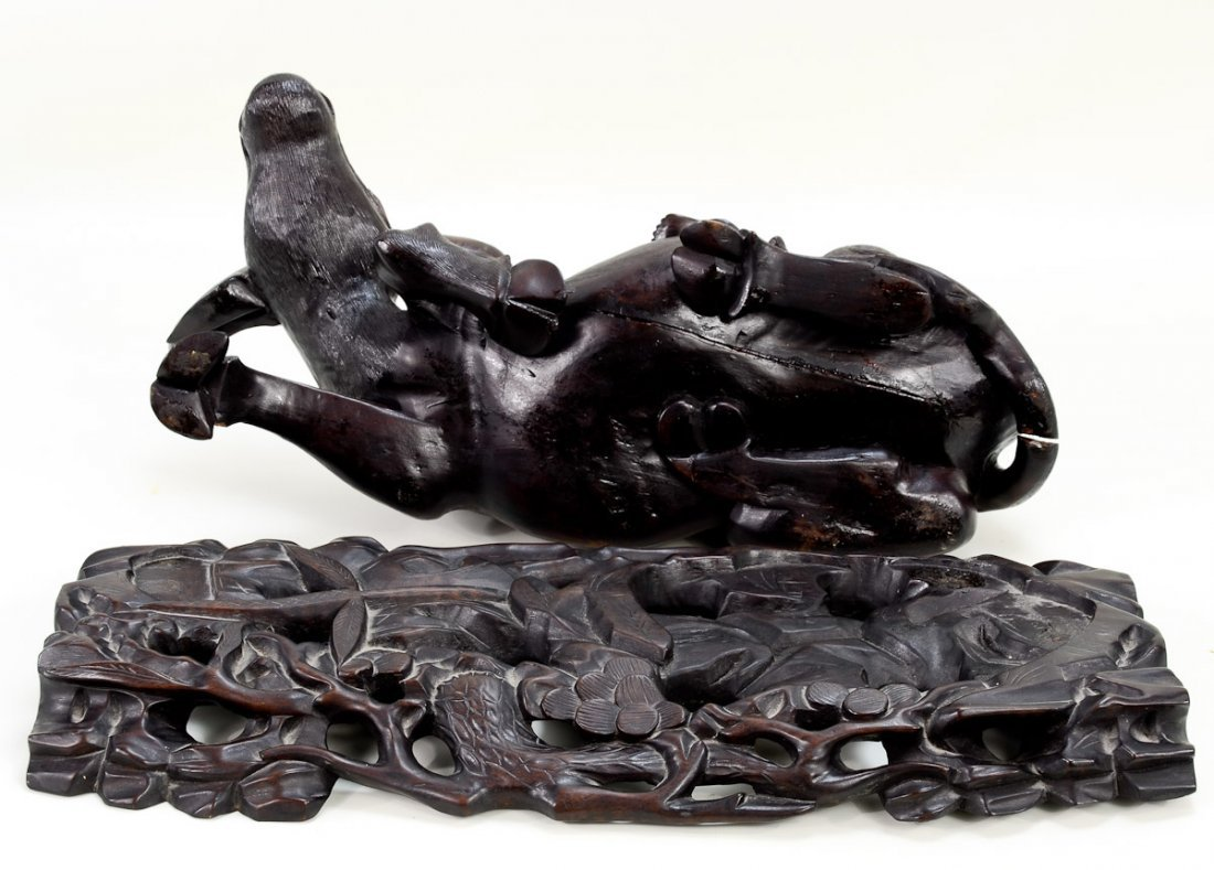 Chinese Carved Wood Water Buffalo w/Children - 3
