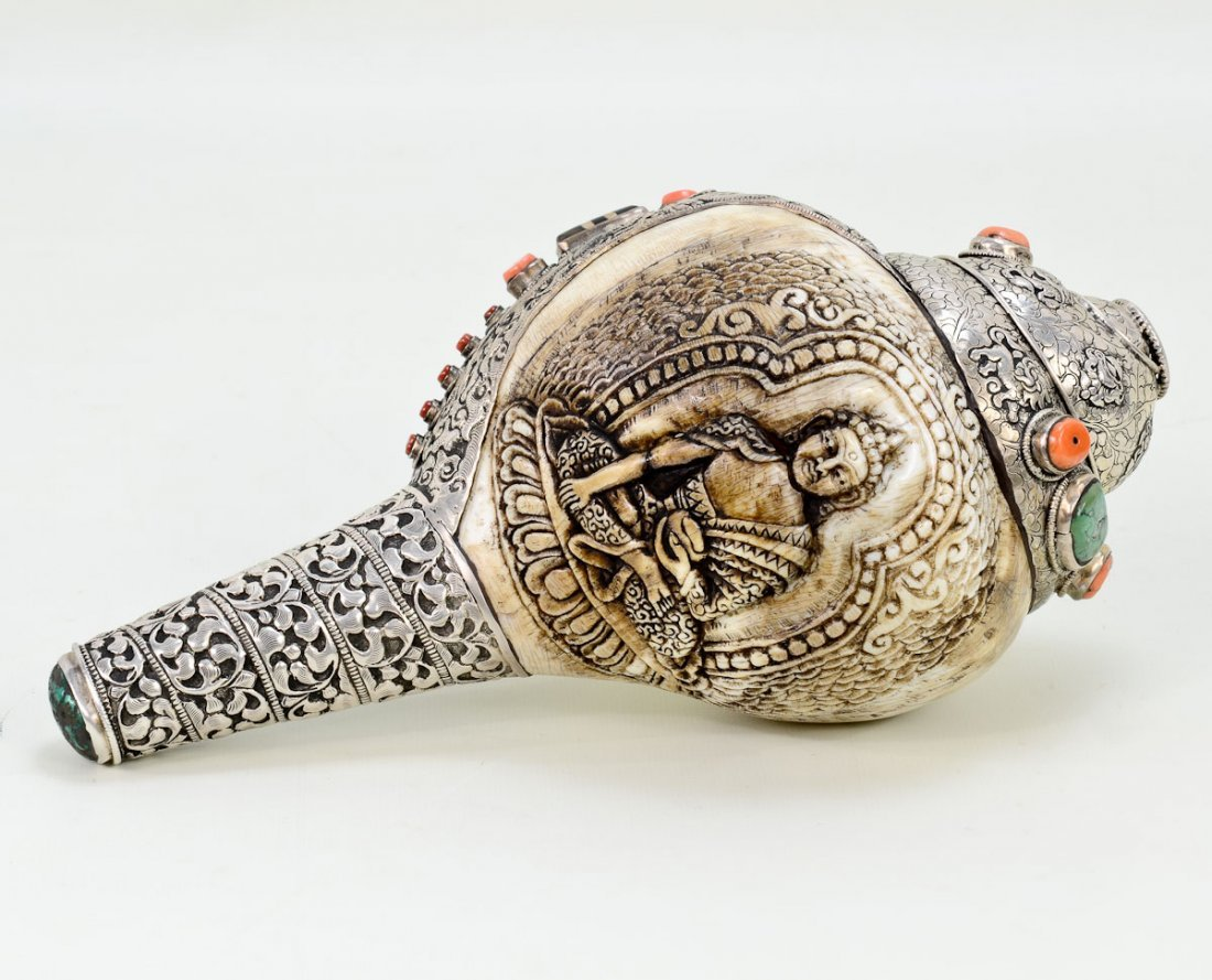 Silver mounted Buddhist Conch Shell Horn