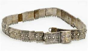 A Turkish Silver  Niello Link Belt