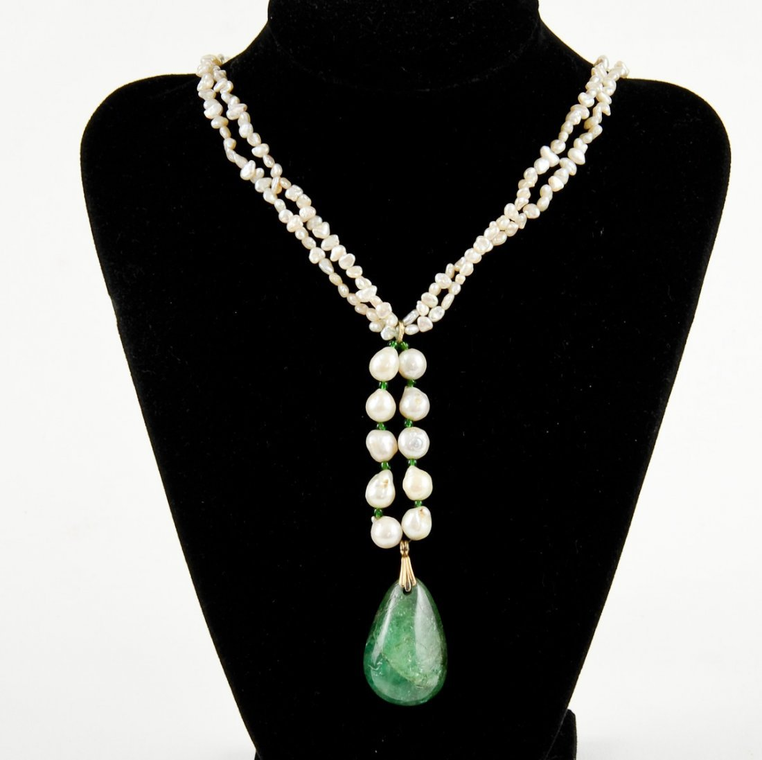 Freshwater Pearl and Natural Jade Necklace