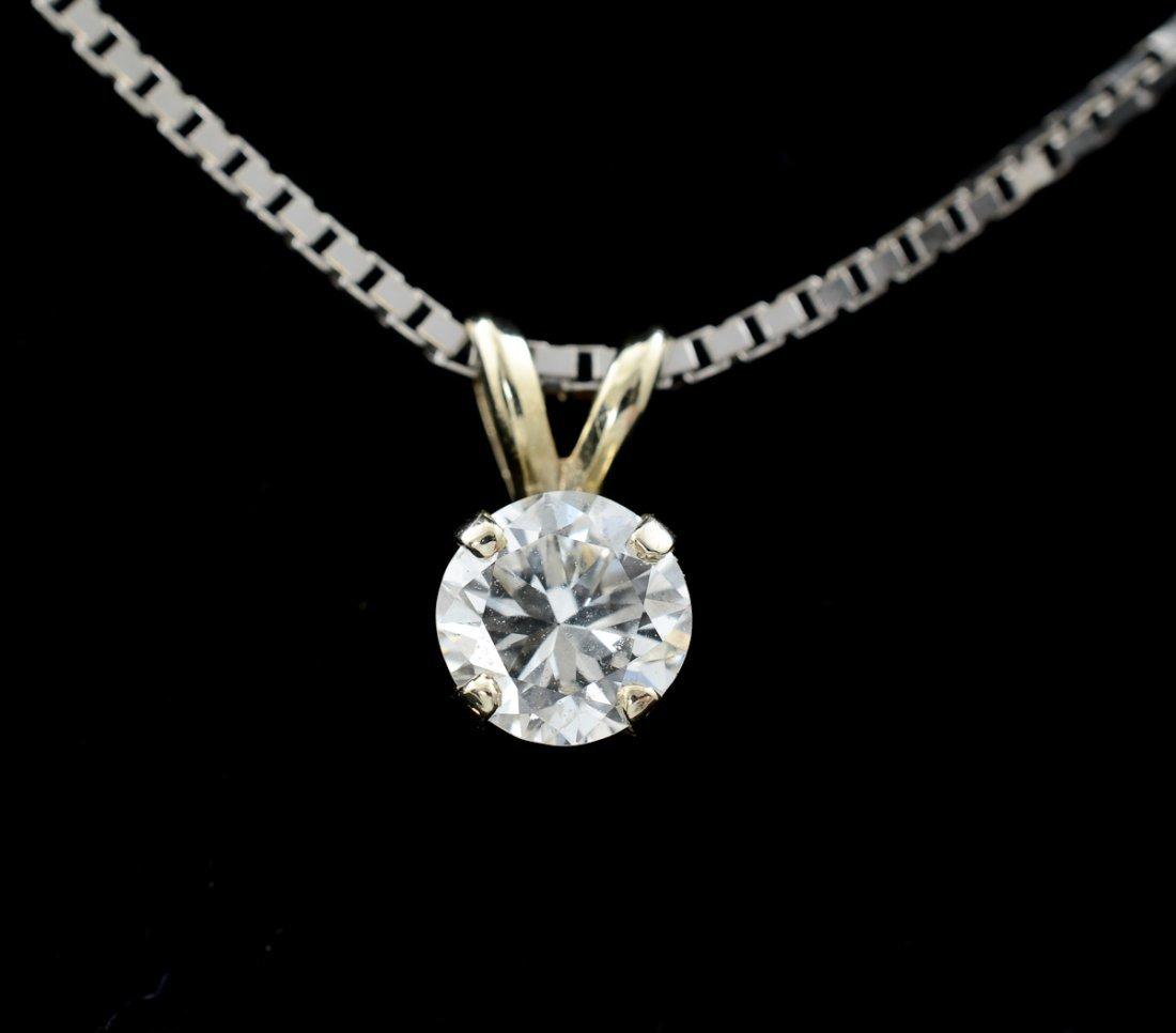 Ladies Diamond Solitaire Pendant Necklace