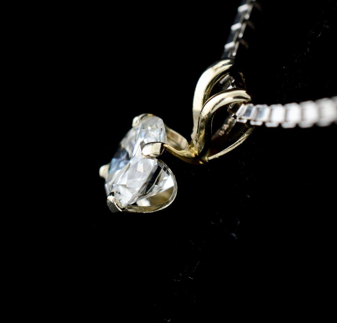 Ladies Diamond Solitaire Pendant Necklace - 2