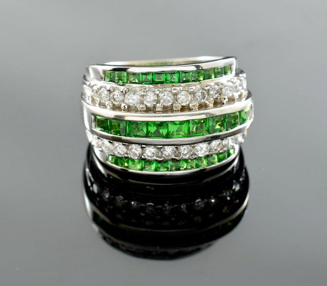Mens or Ladies 14K Diamond Emerald Ring