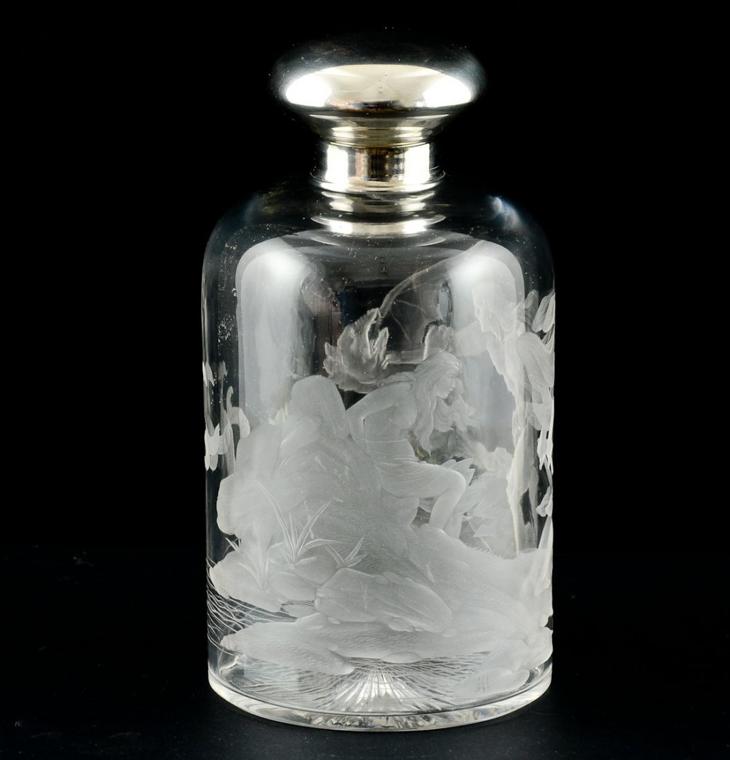 Intaglio Etched Crystal Bottle - 2