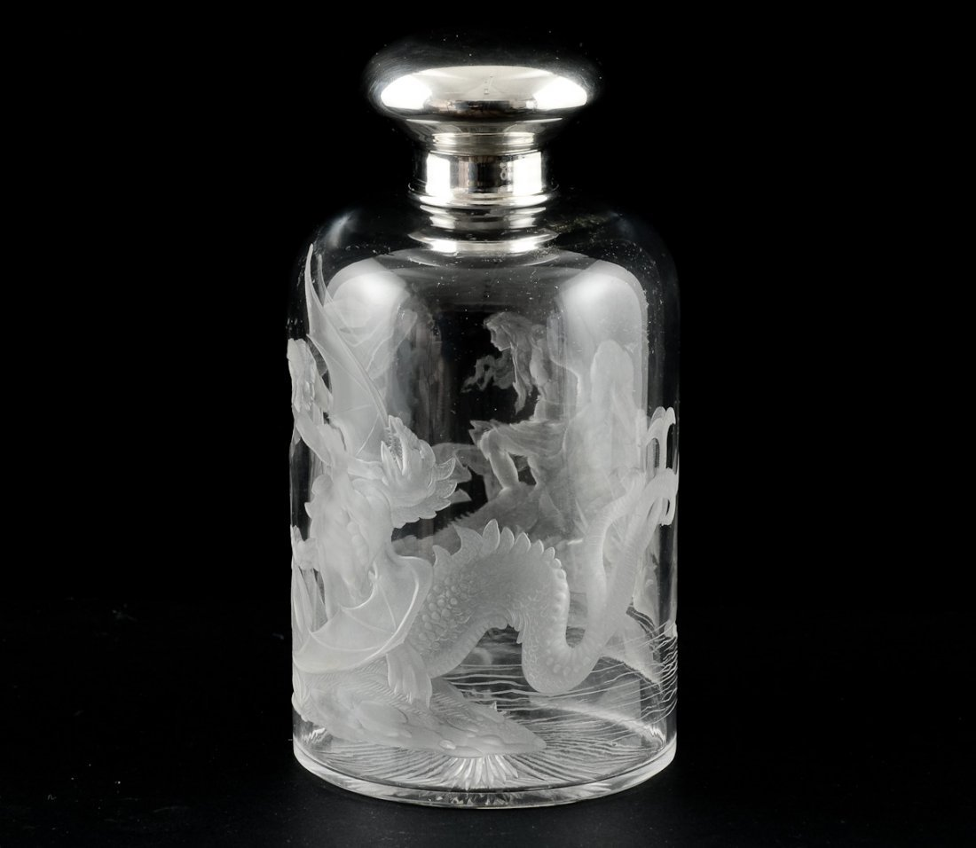 Intaglio Etched Crystal Bottle - 3