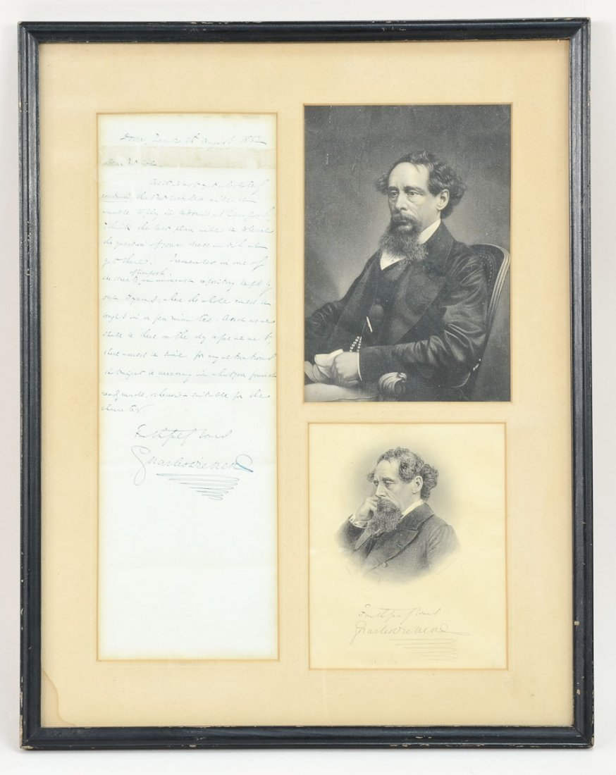 Charles Dickens Signed Letter and portraits