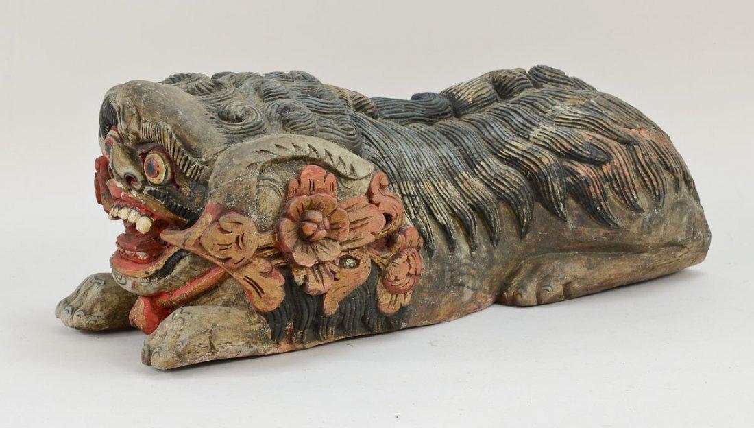 Pair of Asian Foo Dog carvings - 2