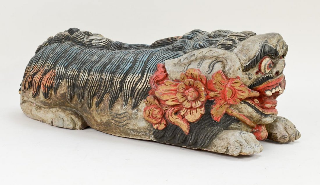 Pair of Asian Foo Dog carvings - 3