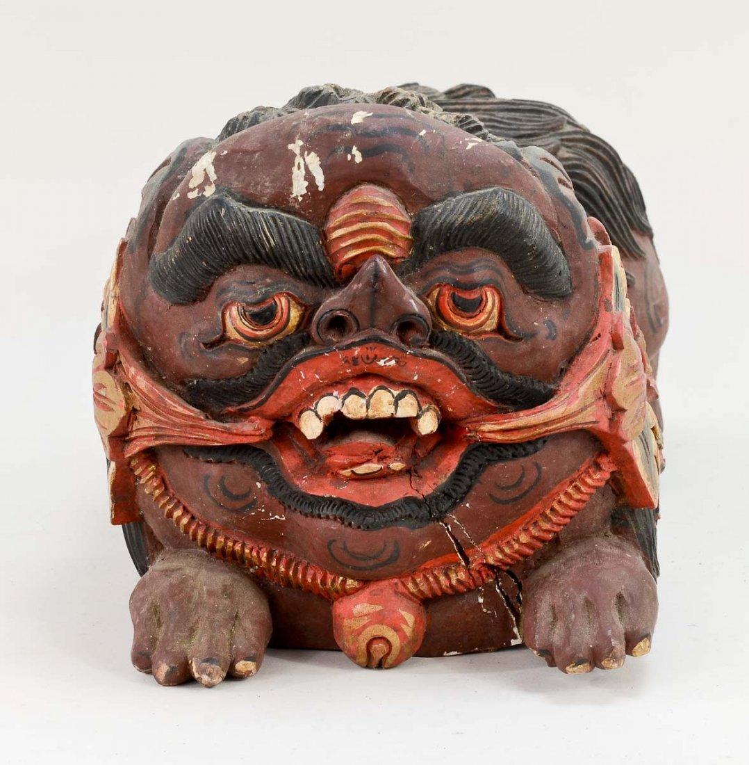 Pair of Asian Foo Dog carvings - 6