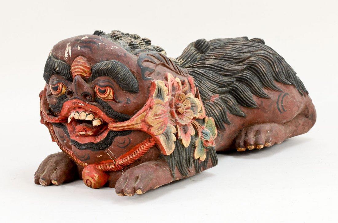 Pair of Asian Foo Dog carvings - 7