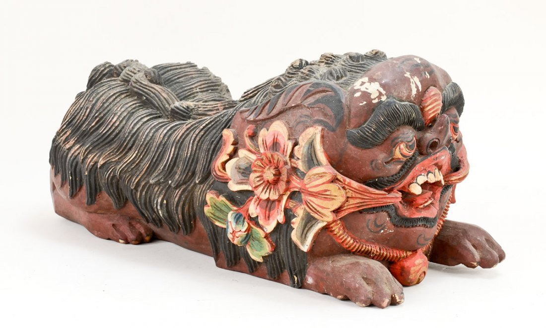 Pair of Asian Foo Dog carvings - 8