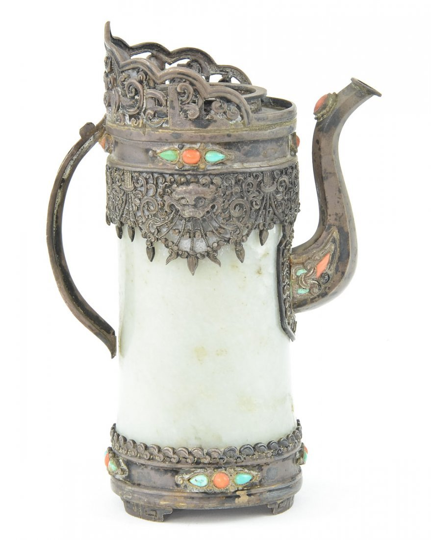 Chinese Silver and Jade Ewer / pitcher