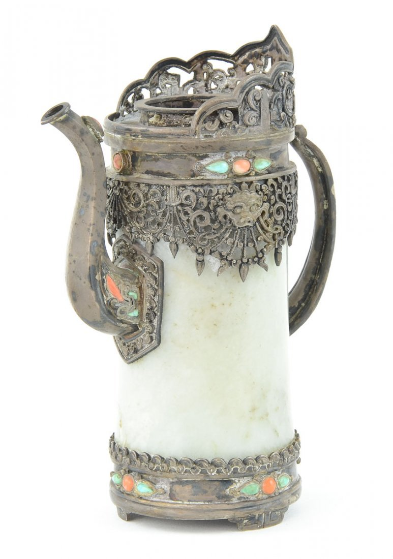 Chinese Silver and Jade Ewer / pitcher - 2