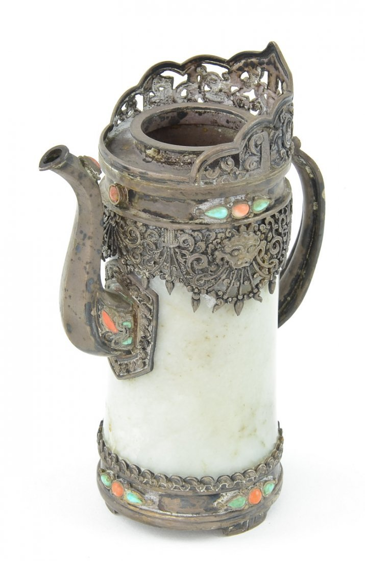 Chinese Silver and Jade Ewer / pitcher - 3