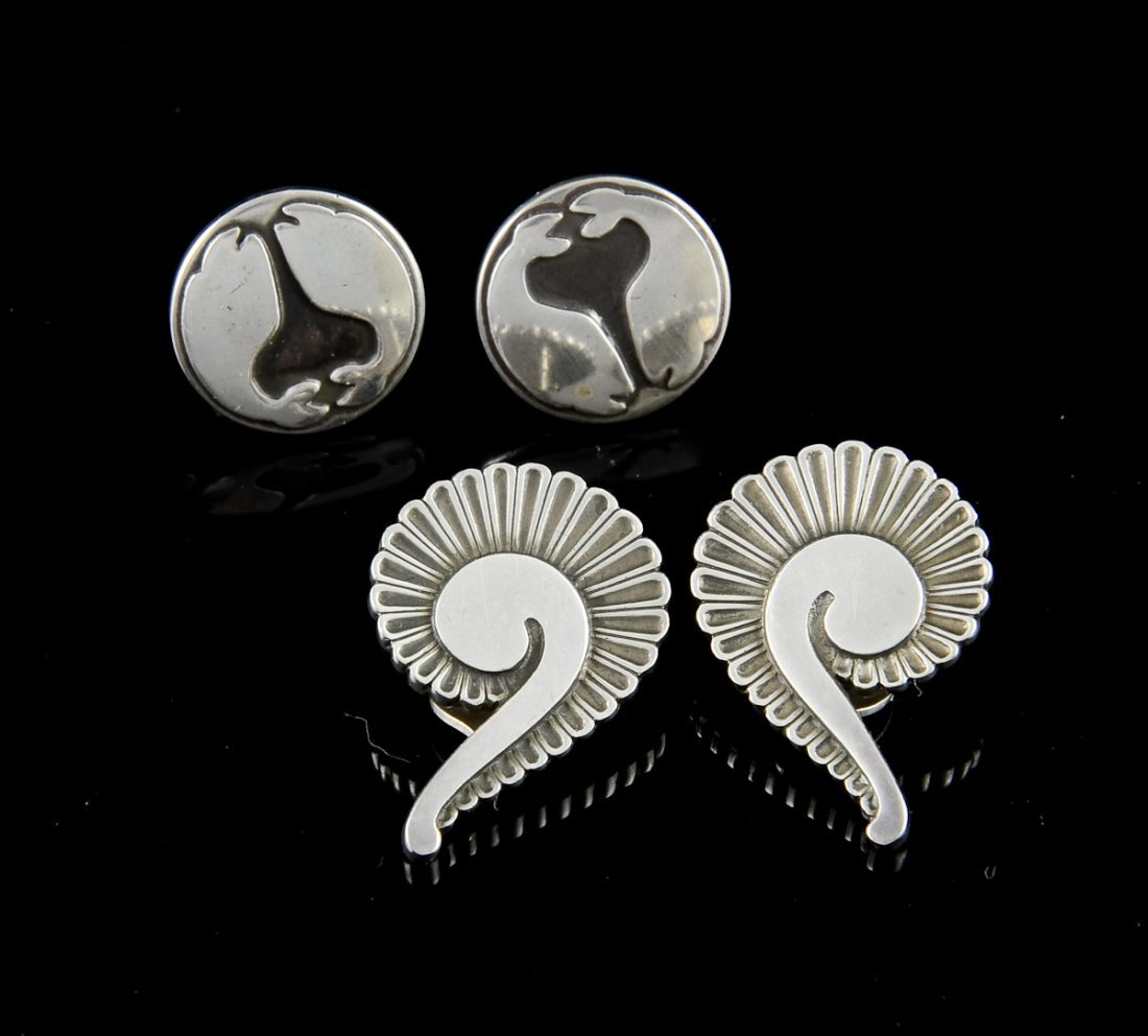 2 Pairs Georg Jensen Silver Earrings