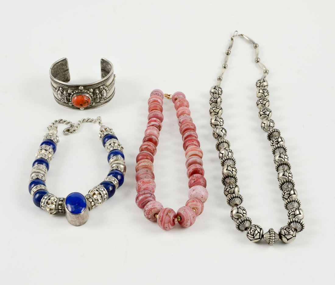Sterling Silver Bracelet and 3 Necklaces