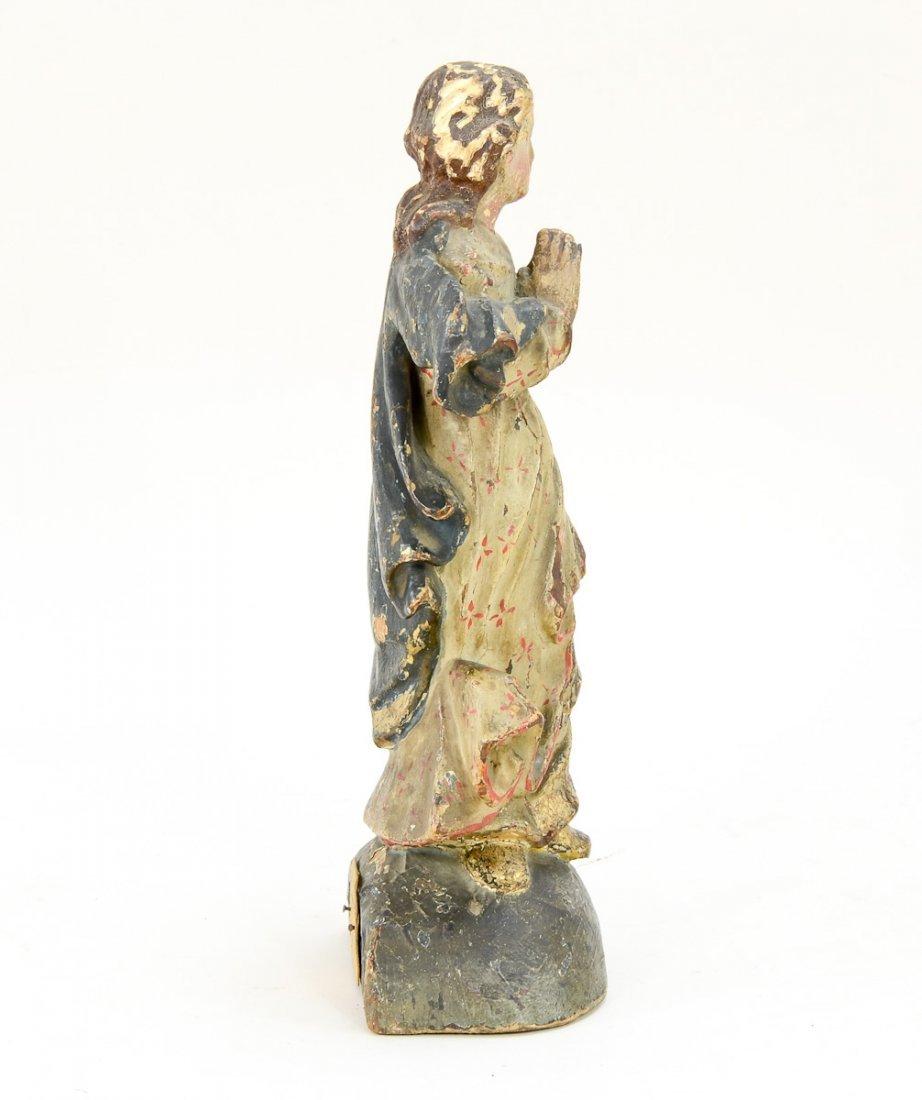 Antique Carved wood angel - 4