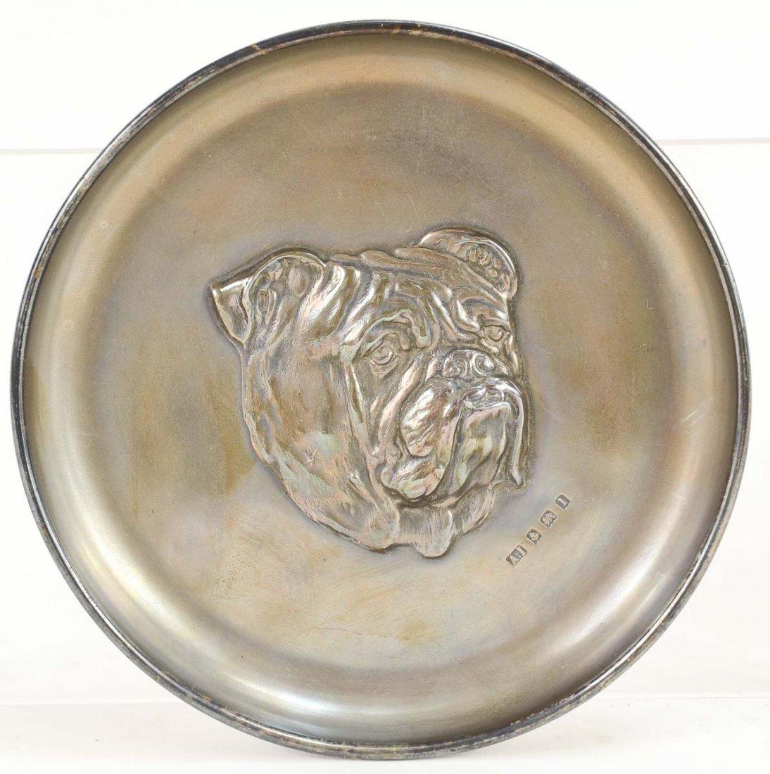 English Silver Bulldog Dish