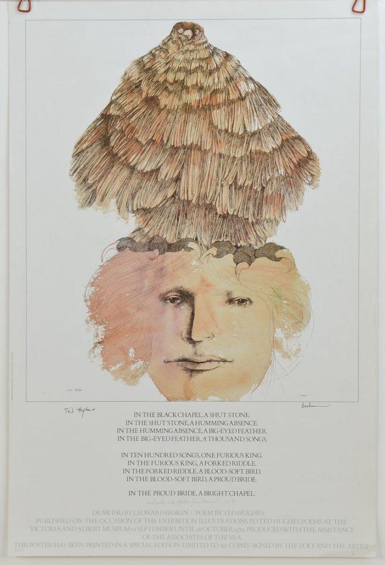 Signed Leonard Baskin, Ted Hughes Poster