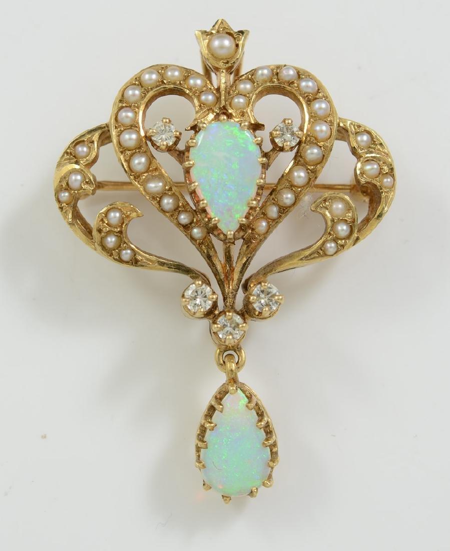 Ladies 14K Opal & Diamond Brooch