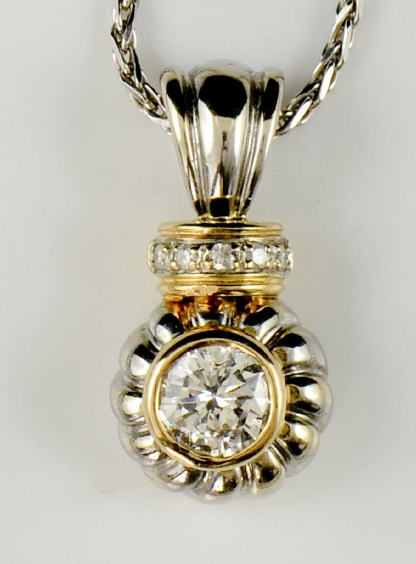 Ladies 14K Diamond Solitaire Pendant
