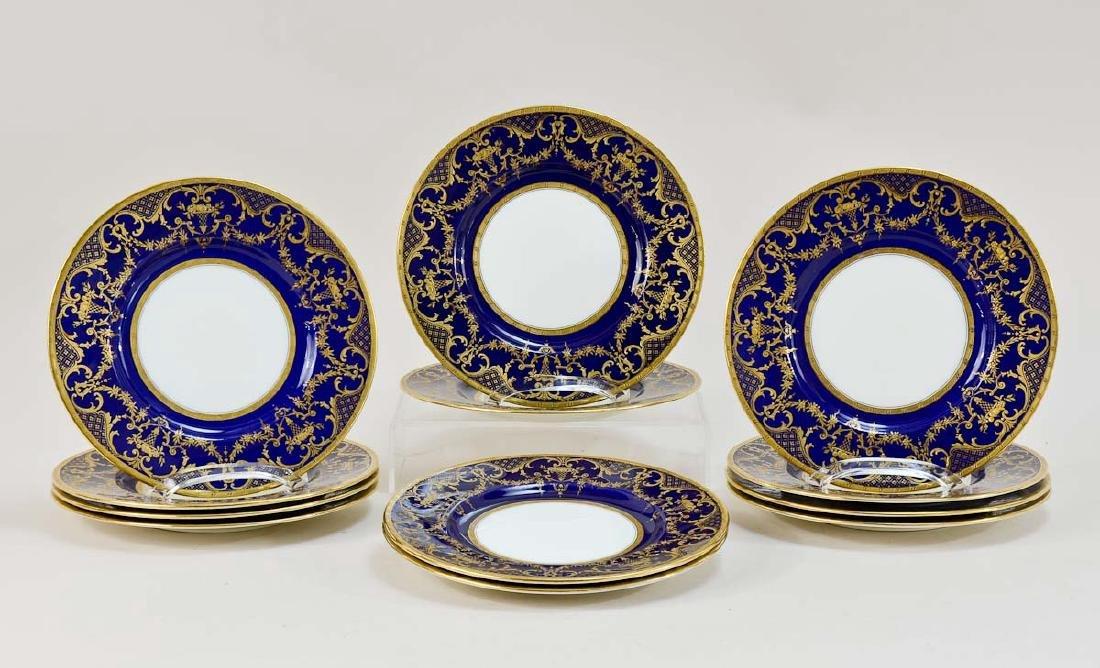 12 Mintons Cobalt Porcelain Plates