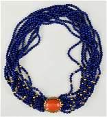 Ladies 14K Diamond & Lapis Necklace