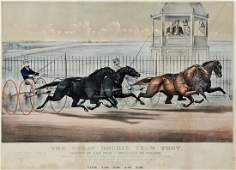 Currier  Ives Horse Race Lithograph