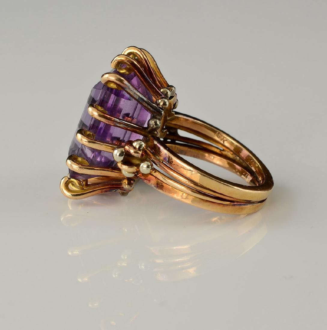 Ladies 18K Amethyst Ring - 2