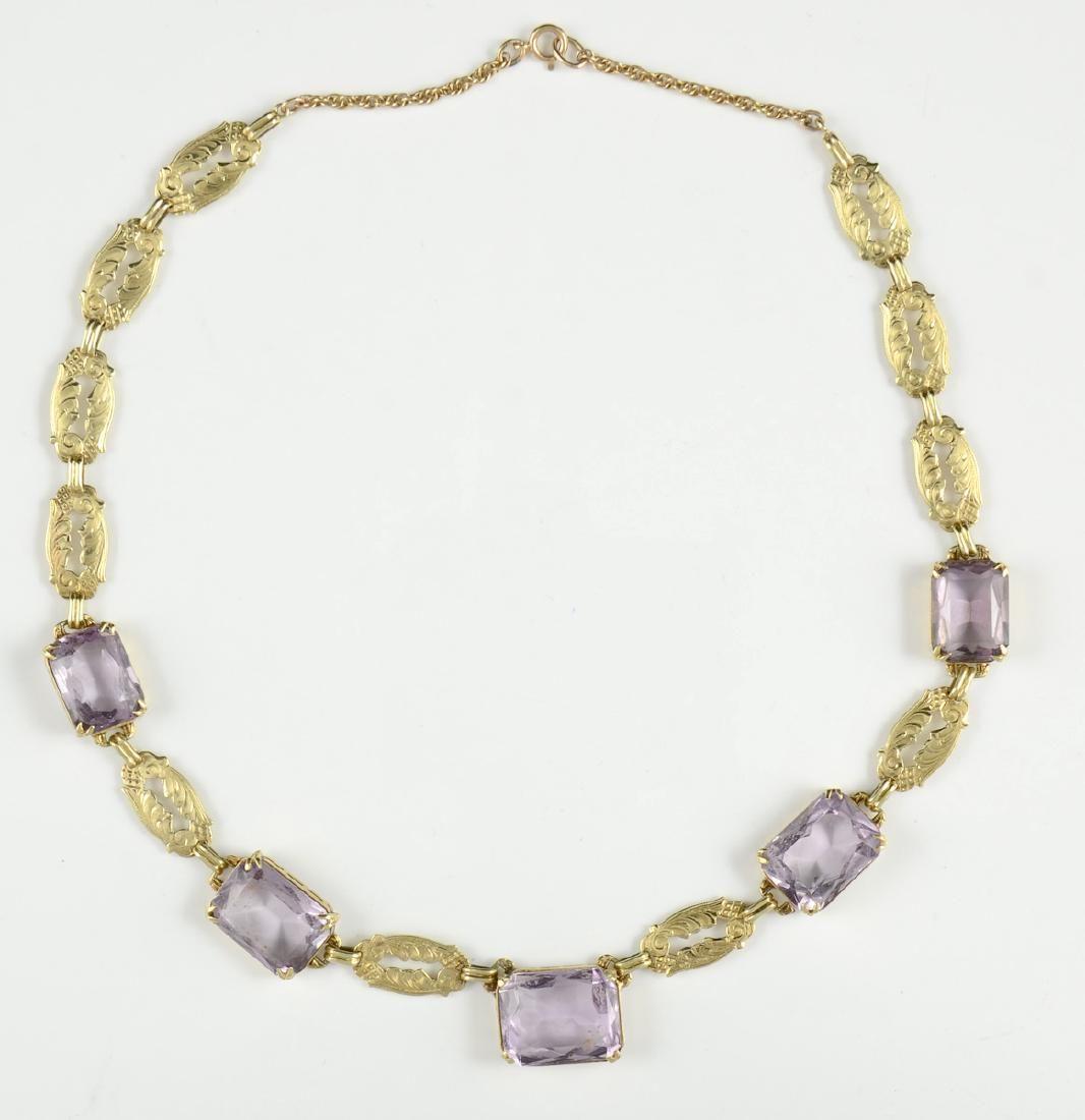 Ladies Antique 14K Amethyst Necklace