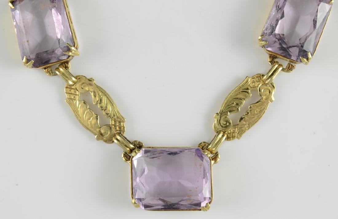 Ladies Antique 14K Amethyst Necklace - 2