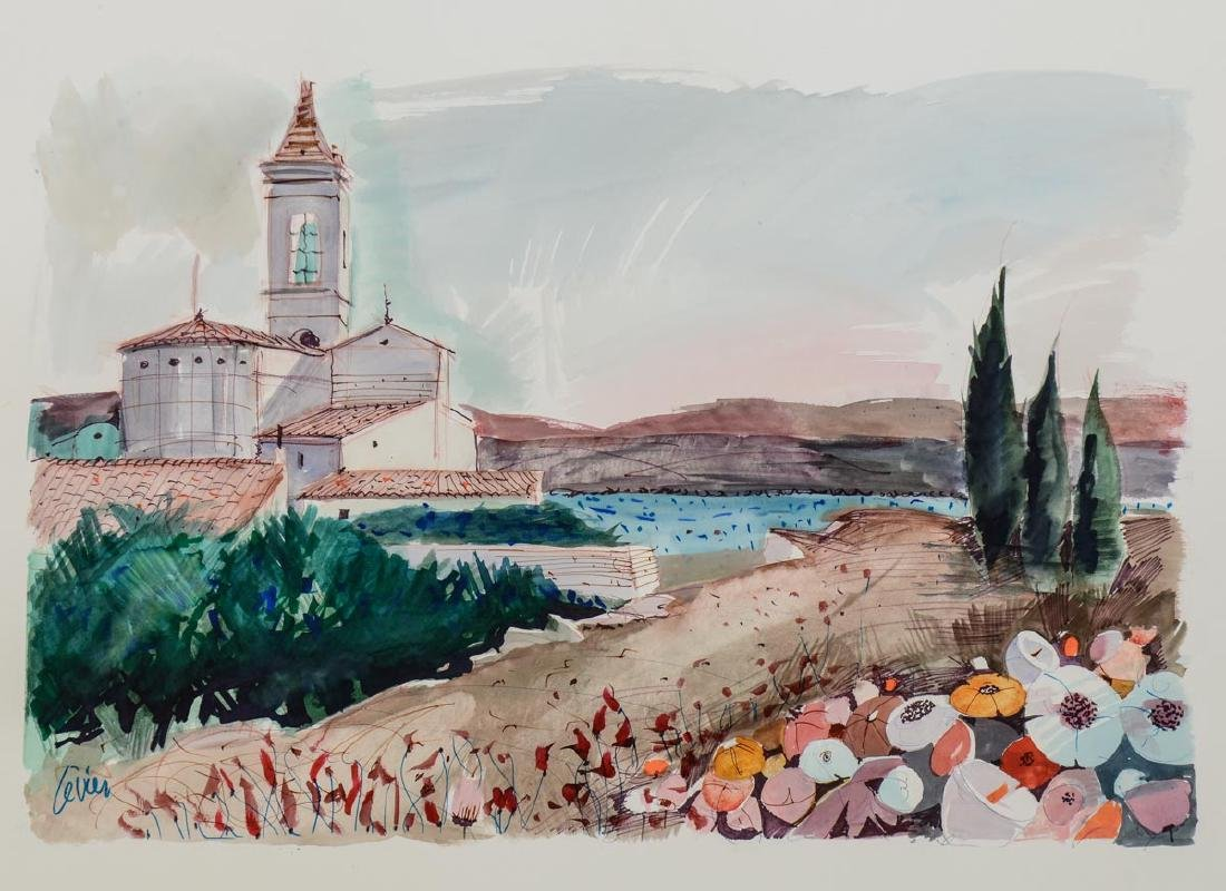 Charles Levier Watercolor Country Church