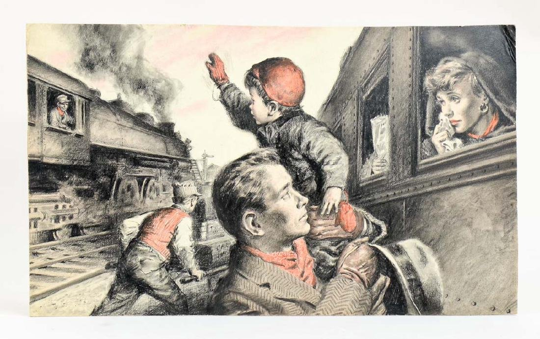 Amos Sewell Train Illustration