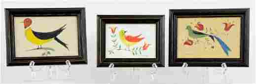3 E.S. Dubiel Folk Art Bird Watercolor Paintings
