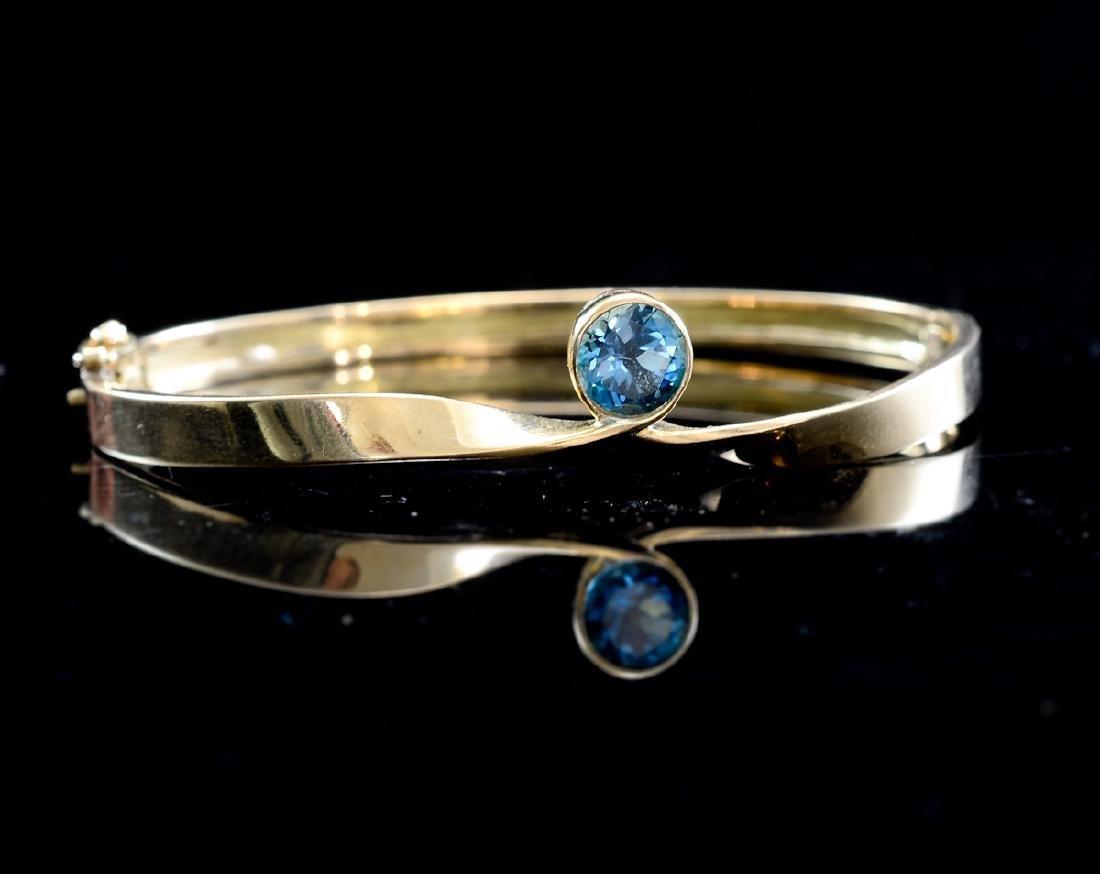 Ladies 18K Blue Zircon Cuff Bracelet