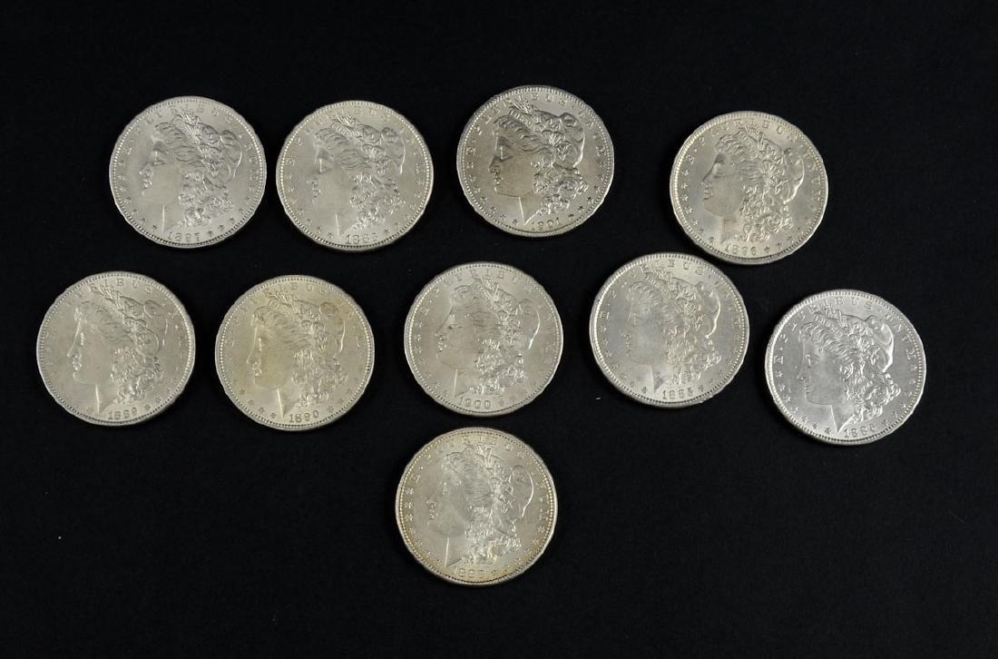 Group of Ten UNC Morgan Silver Dollars
