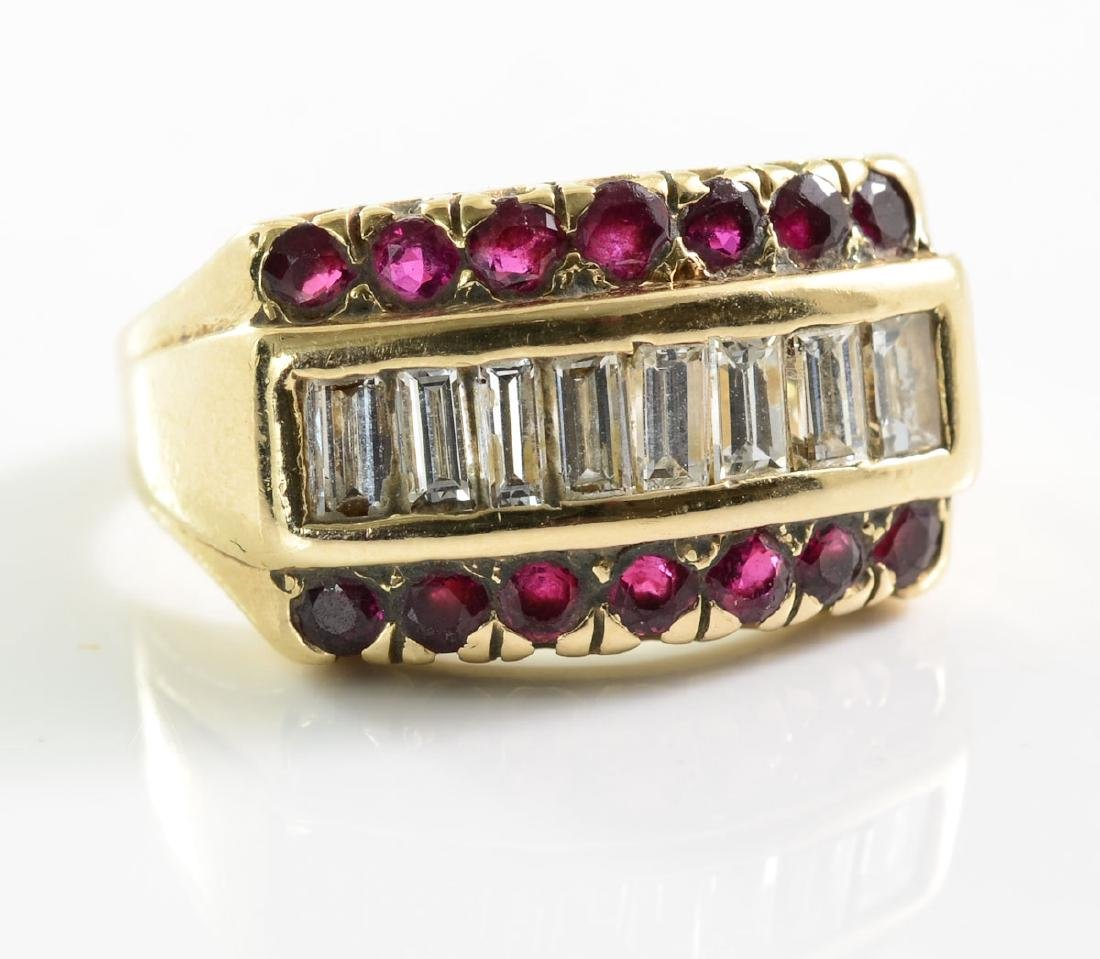 14k ladies Diamond & Ruby Ring