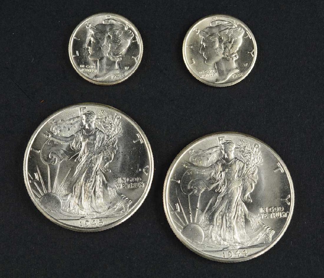 1944 & 1945 Half dollars and dimes