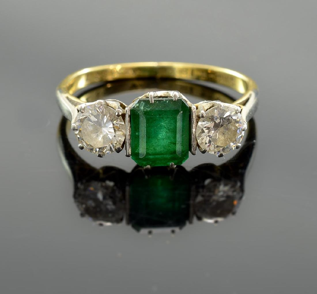 Ladies 18K Emerald and Diamond Ring