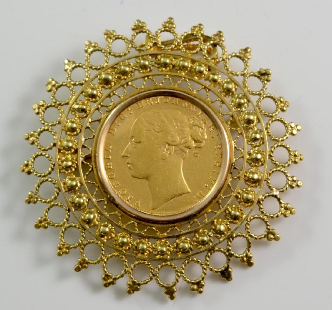 British Gold Sovereign Coin Brooch