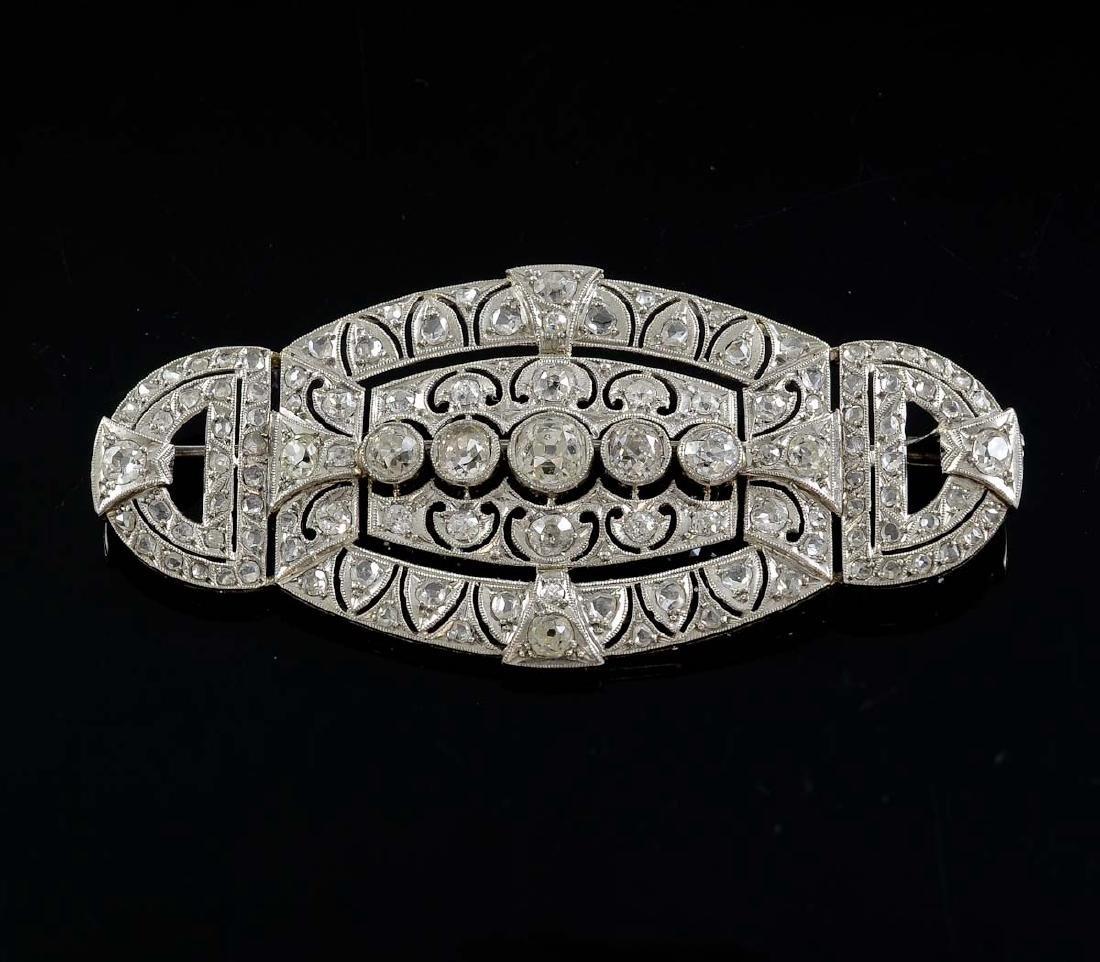 Art Deco Platinum and Diamond Pin