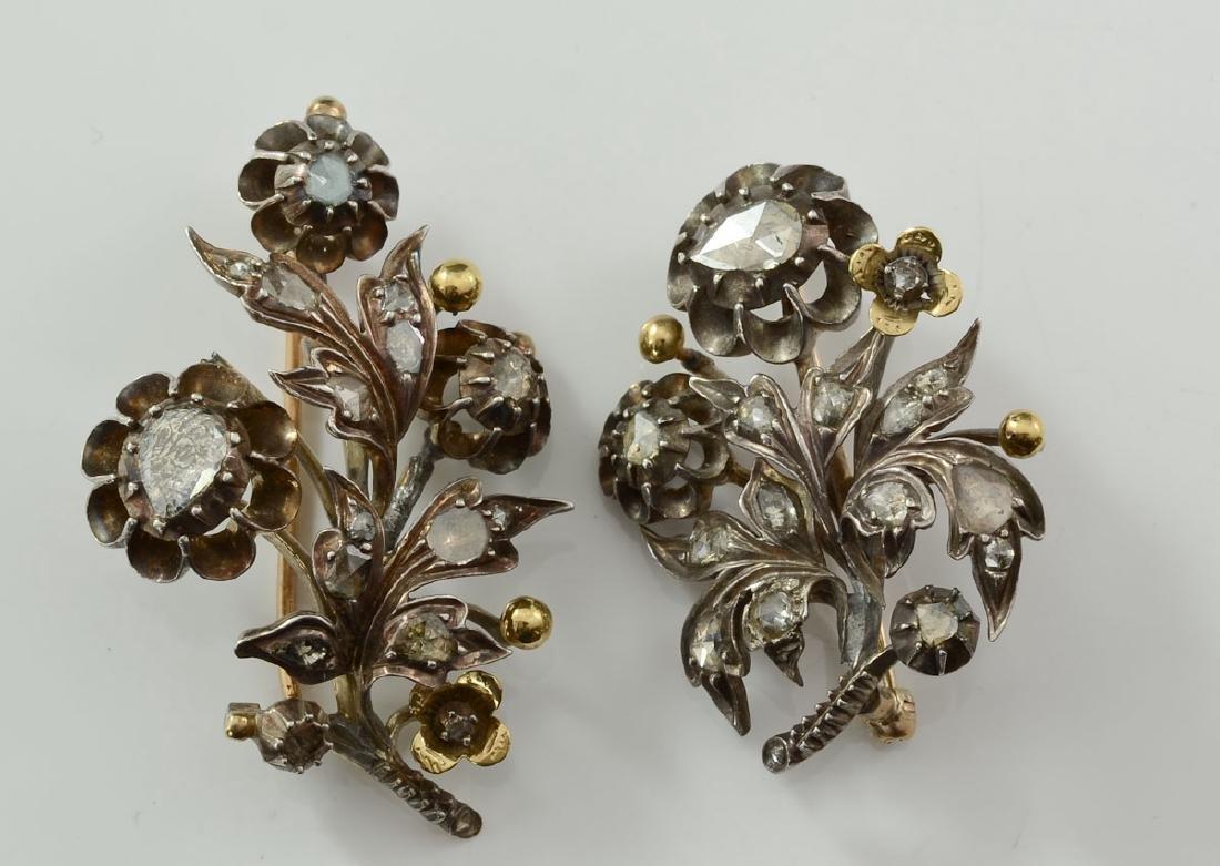 Two Georgian Rose Cut Diamond Pins