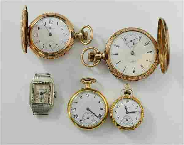 Group of five gold watches