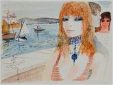 Charles Levier Watercolor Woman  Sailboats