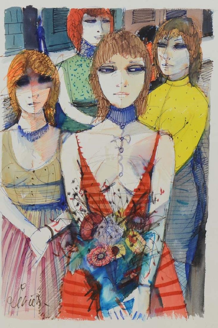 Charles Levier Watercolor Four Girls