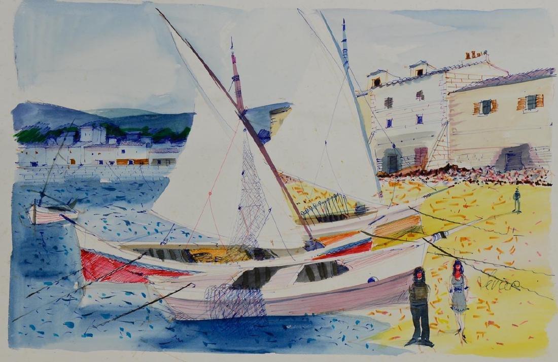 Charles Levier Watercolor Sailboats