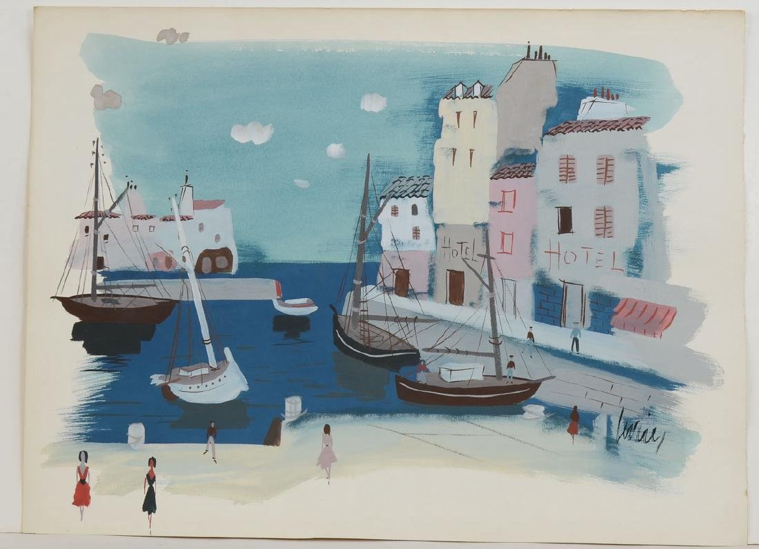 Charles Levier Watercolor Waterfront