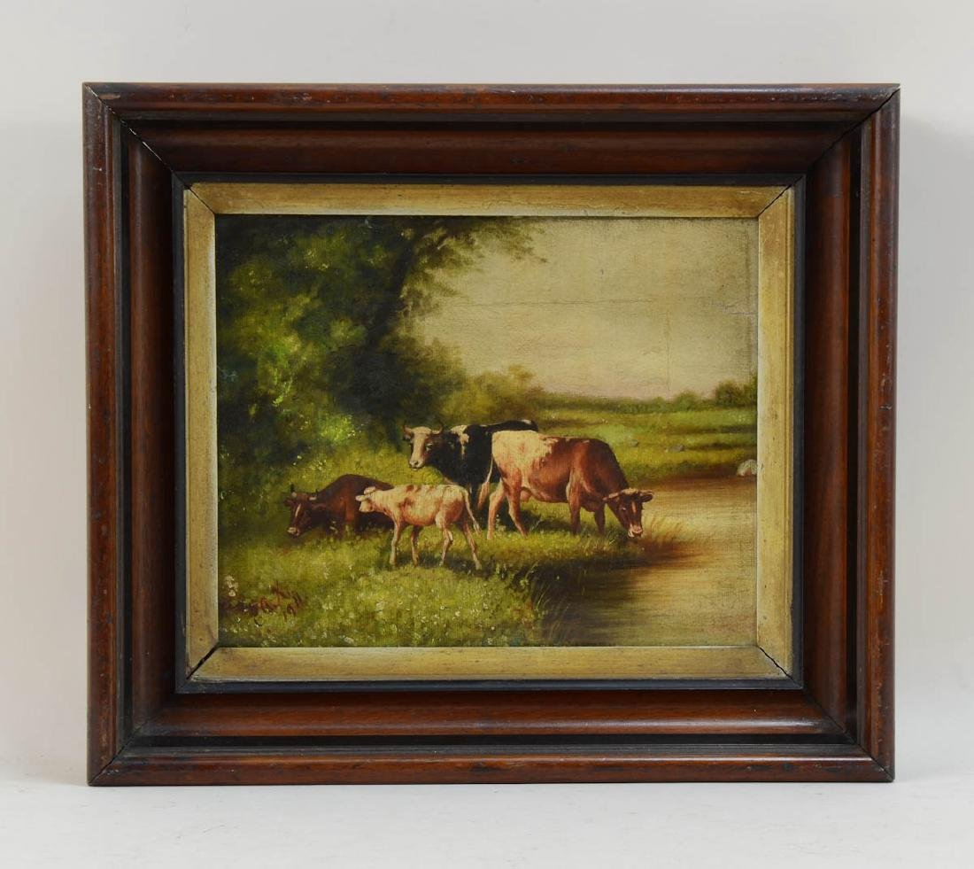 Antique Oil Painting of Cows